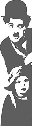 CW - Charlie Chaplin Adesivo Murale, colore Grigio Scuro Opaco- ATTACCO A DESTRA - misura 45 cm X 175 cm - PVC - MADE ITALIA