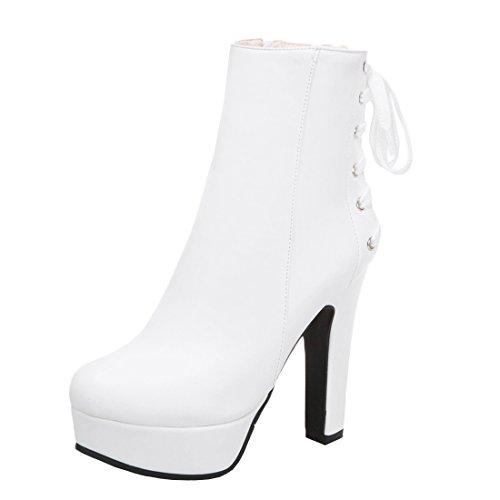 YE Damen High Heels Ankle Boots Plateau Stiefeletten mit Reißverschluss 12cm Absatz...