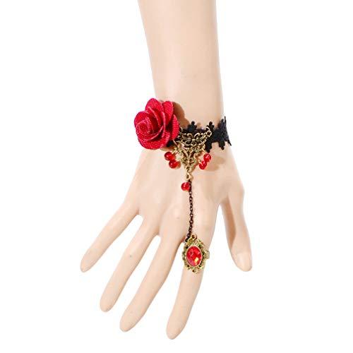 FABSELLER Frauen Mädchen Handmade Retro Black Lace Vampir Slave Armband mit Fingerring Handkette Dekoration Set für Maskerade Halloween (Rose Blume mit Korn Ring)