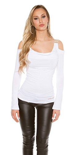 Schulterfreies Shirt mit langen Trompeten-Ärmel Weiß