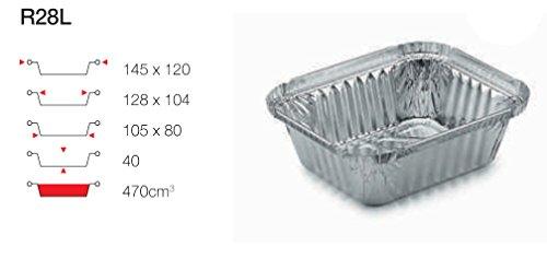 contital Barquette en aluminium 1 portion r28L 100 pièces avec couvercle