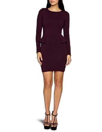 AX Paris Long Sleeve Fitted Peplum Body Con Women's Dress Aubergine Size 8