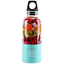 500 Ml Juice Blender, Aolvo Portable Voyage Juicer Bouteille Taille Personnelle Électrique Rechargeable Fruit Juicer Mixer avec USB Chargeur Câble pour Fruits Légumes