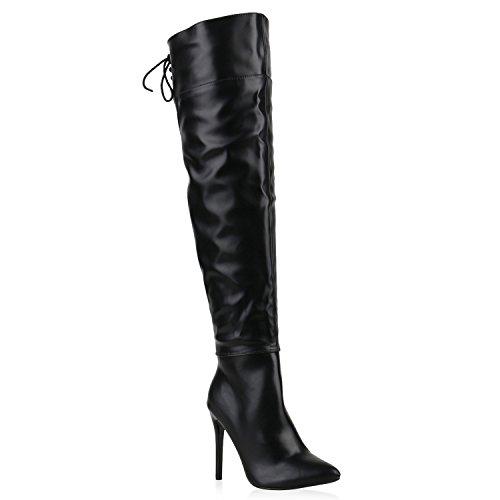 e5dfc686e52b Gefütterte Damen Schuhe Overknees Stilettos Langschaft Stiefel 123194  Schwarz Black Avelar 38 Flandell