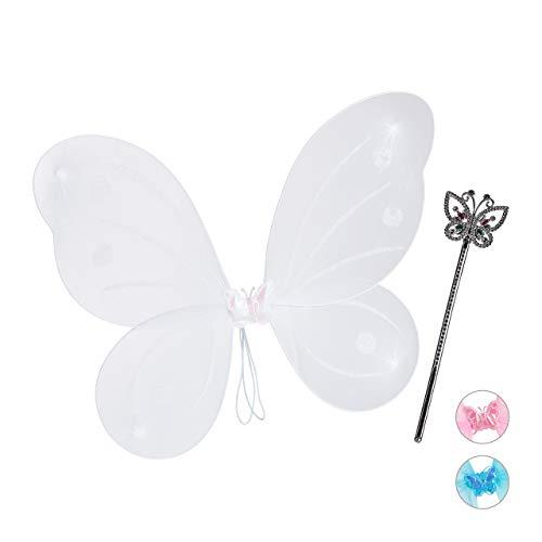Flügel Kostüm Weiße - Relaxdays Feenflügel mit Zauberstab, Fee Kostüm Kinder, Flügel & Zepter, Glitzer, Mädchen, Feenset, weiß