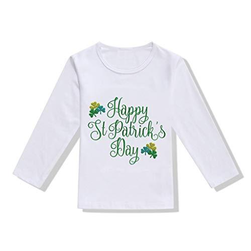 Kobay Kleinkind Baby Mädchen Jungen St.Patrick's Day T Shirt Irish National Day Oberteile Bluse Shamrock Print Irish Langarm T-Shirt (18M-5Y)