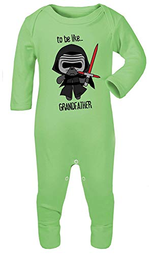 Star Baby Vader Kostüm Darth Wars - Darth Vader to Be Ähnlichen Großvater Star Wars Aufdruck Kostüm Footies 100% Cotton - Grün, 3-6 Months