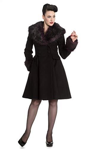 Hell Bunny Rock Noir Damen Winter Mantel mit Kunstpelz, Größe:L, Farbe:schwarz Purple
