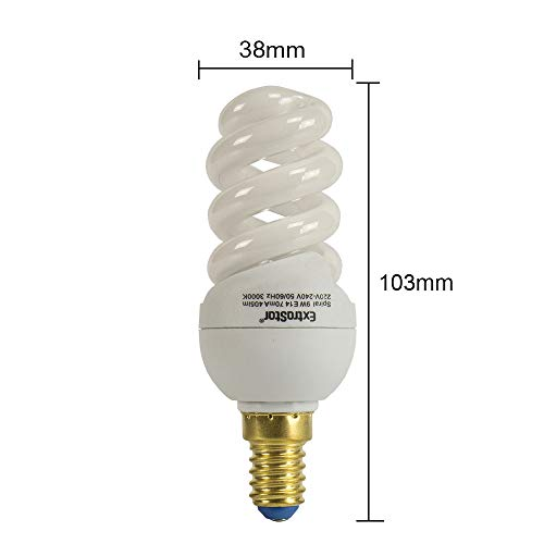 5X Energiesparlampen Spirale E14 ExtraStar Leuchtmittel Sparlampe Warmweiss 3000K (9W FE633)