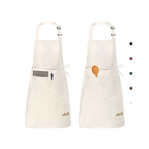 Viedouce 2 Pezzi Grembiule da Cucina Chef,Grembiule da Ristorante BBQ Bar Chef Cucina,Regolabile Grembiuli con Tasche… 2 spesavip