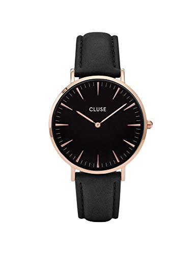 Cluse Damen-Armbanduhr Analog Quarz Leder, schwarz, CL18001