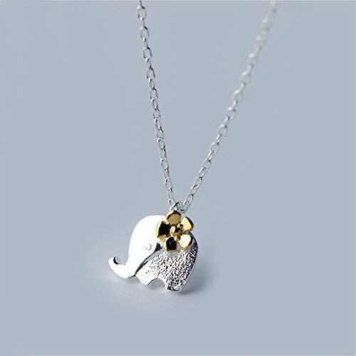 ZUXIANWANG Sterling Silber 925 Niedliche Elefant Anhänger Halsketten Frauen Blumen Schmuck Für Geschenk (Sterling Silber Niedliche Halskette)