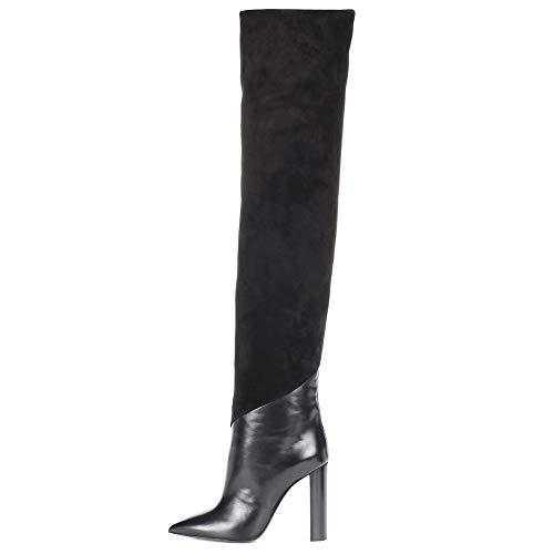 nee Schenkelhoch Oberschenkel Hohe Stiefel Über Das Knie Blockabsatz Spitzschuh Schwarz Leder Mode Abend Hoher Absatz Schuhe Größe 35-46, Black ()