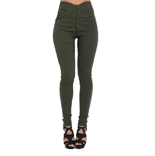 CuteRose Women Pure Color Stretch Pants Leggings Bodycon Slim Cropped Leggings Army Green 3XL (Set Cropped Green Pant)