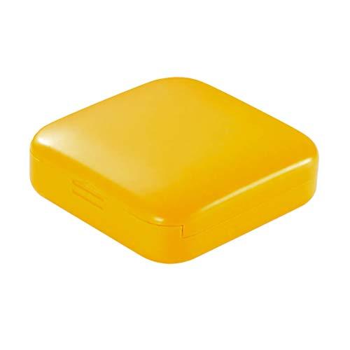 TOPBATHY 1 STÜCK 2 Grids Mini Pillendose/Pillenetui/Pillenorganisator/Pillendosenspender für Geldbörse Vitamin Fischöl (Gelb)