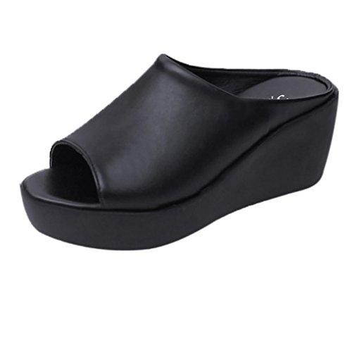 Ansenesna Sandalen Damen Leder Schwarz Weiß High Heels Offen Atmungsaktiv Schuhe Mädchen Keilabsatz Elegant Für Outdoor (35, Schwarz) (Silber High Heels Für Mädchen)