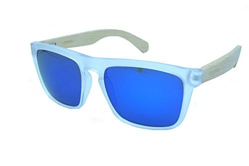 Vagance eckige polarisierte Holz Sonnenbrille mit Echtholz Bügeln und tollem Bambus Case (Weiß)