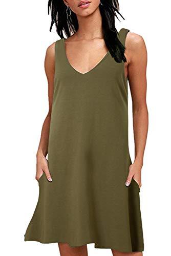 Damen Sommer Casual T-Shirt Kleider Lose Uni Tank Swing Kleid Ärmelloses Sommerkleider mit Taschen Grün L Boho Tank Kleid