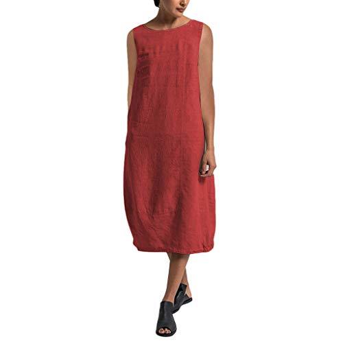 Womens Butterfly Kostüm - Overdose Damen Freizeit Kleider Blusenkleider Lässige Rundhals Einfarbig Casual Urlaub Sommerkleider Strandkleid Midi Dress Frauen kostüme übergröße