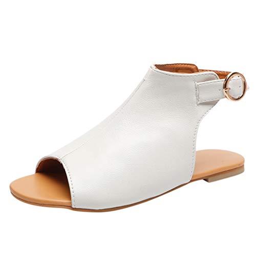 Strungten Womens Sommer Slip On Mule Slingback Peep Toe Flache Sandale verstellbare Knöchel Schnalle Schuhe Roman Flache Schlange Casual Sandalen