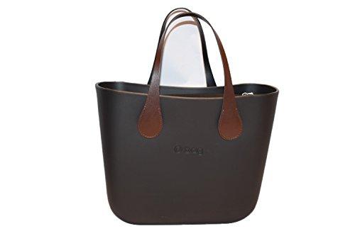 Borsa o bag mini scocca nera interno nero manici corti piatti marroni