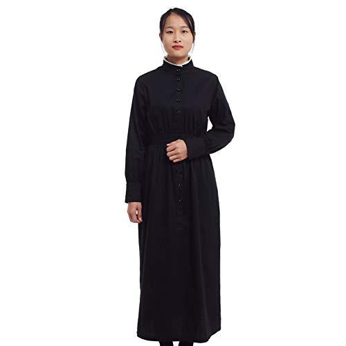 GRACEART Pionier Damen Kostüm Prärie Kleid Dienstmädchen Mädchen Kostüm Einteiliges Viktorianische Zofe (Schwarz(Reine Baumwolle), (Damen Land Mädchen Kostüm)