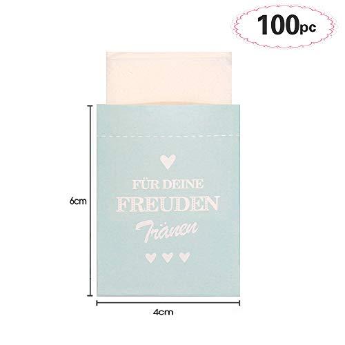 Sinoest 100 Freudentränen Taschentücher Hochzeit Mini Papiertüten Mint Taschentuch Geschenktüten Flachbeutel für Hochzeit Taschentücher Mitgebsel Schmuck Umweltfreundlich (Mint) -