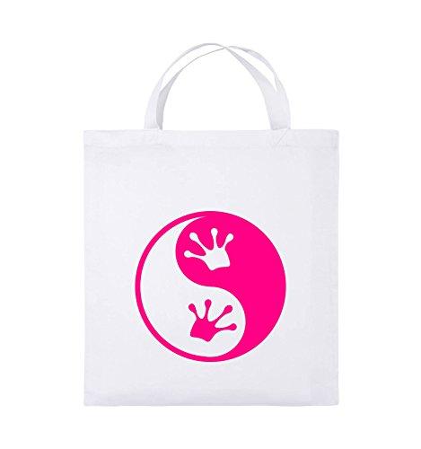 Comedy Bags - YIN YANG - FROSCH - Jutebeutel - kurze Henkel - 38x42cm - Farbe: Schwarz / Silber Weiss / Pink
