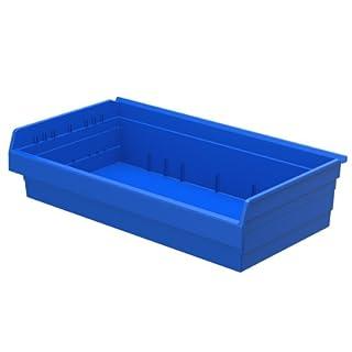Akro-Mils 30838 ShelfMax 8 Plastic Nesting Shelf Bin Box, 18-Inch x 33-Inch x 8-Inch, Blue, 4-Pack