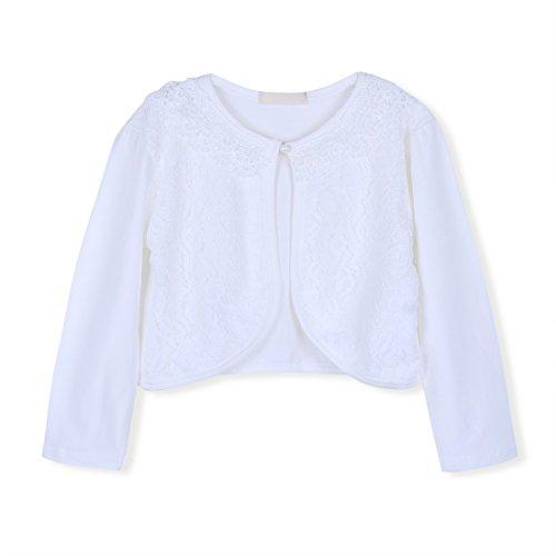 Freebily Mädchen Strickjacke Bolero Cape Kinder Lange Ärmel Schulterjacke Bolerojäckche Pullover festlich weiß/rosa in Größe 86-140 #3 Weiß/Lace 134-140 (Mädchen Strickjacke)