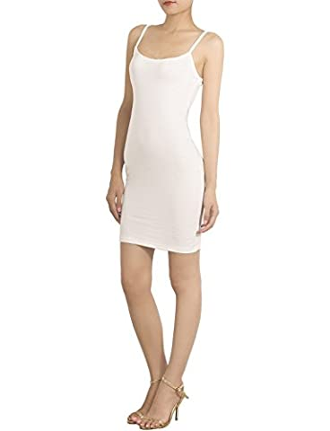 iB-iP Femme Bretelles Jupons De Coton Mélange Spaghetti Mini Robe Moulante, Taille: XL, Blanc