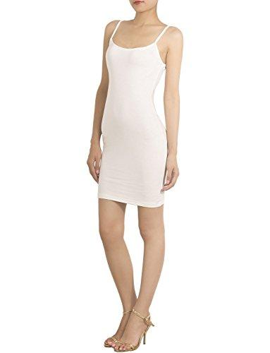 iB-iP Femme Bretelles Jupons De Coton Mélange Spaghetti Mini Robe Moulante, Taille: XS, Blanc