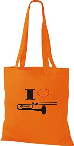 Shirtstown Pochette en tissu Musique I Love Trombone Instrument pâle Orange - Orange
