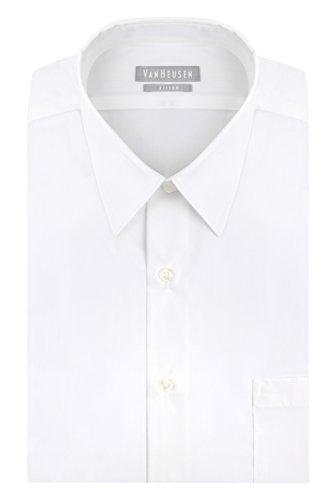 Van Heusen Men's Poplin Fitted Solid Point Collar Dress Shirt, White, 18.5