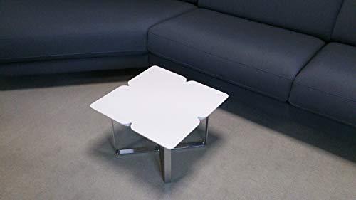 Möbel Akut Couchtisch ROLF Benz Freistil 195 Design Wohnzimmertisch Holz hellgrau Kleeblatt 49x49 cm