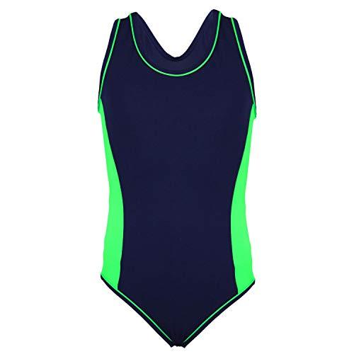 Aquarti Mädchen Badeanzug mit Racerback Sportlich, Farbe: Dunkelblau/Grün, Größe: 140