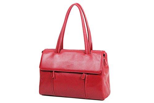 Sac shopping Cabas Gérard Hénon en Cuir de Vachette lisse souple GH13203 Rouge