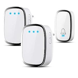 Campanello Senza Fili Impermeabile, Wireless Doorbell Con Raggio d'Azione 300m, Indicatore LED, 1 Trasmettitore Pulsante… 310H96mvo3L. SS300
