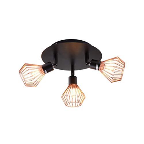 LED Industrial Vintage Deckenleuchte Kronleuchter Deckenstrahler Wohnzimmerlampe Flurlampe Einstellbar mit 3 Dreh-und Schwenkbaren Spots Im Retro Design Metall G9*3, Schwarz-gold Ø20*H15cm