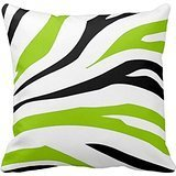 Best Pillow Cover Fashion Home Decorative Cotton Polyester Pillo wcase 18 * 18 inches Black and Lime Green Zebra Stripes Print Pillow Case