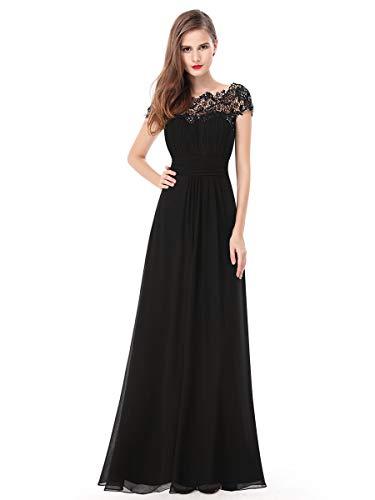 Ever-pretty vestito da ballo donna girocollo maniche corte pizzo chiffon lungo nero 54