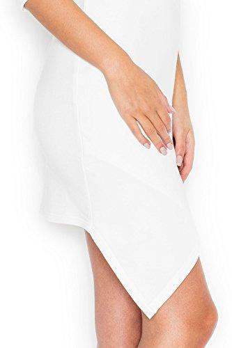 Katrus Robe asymétrique sexy avec insert en mousseline de soie Écru