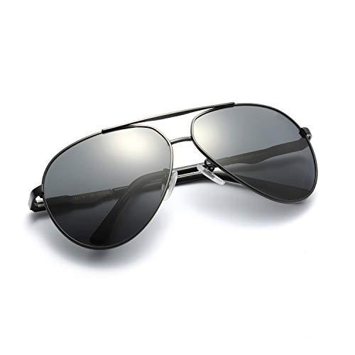 Klassische Aviator Polarisierte Sonnenbrille Leichte TAC Objektiv Legierung Rahmen unzerbrechliche Brillen 100% UVA UVB Schut für Männer Frauen (shwarz, grau)