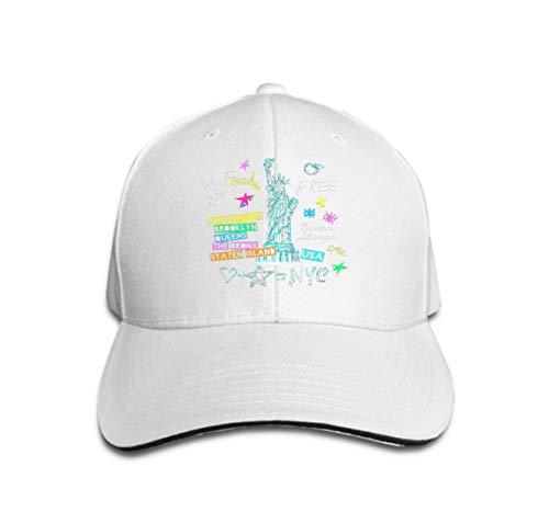 Baseball Caps New York Design Poster Print Statue Liberty Lettering map Trend White ()