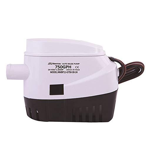 Automatische Bilgepumpe - 750GPH 12V/24V Unterwassermotor-Auto-Boot-Bilgepumpe mit Schwimmerschalter und 19 mm Schlauchboot-Yacht-elektrischer Wasserpumpe für Bootsrümpfe/Bilgen,Teiche,Pools,Spas