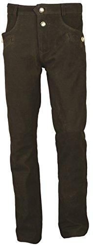 'Fuente' Bayerische Lederhose Herren Tracht lang- Damen Trachtenlederhose lang aus hochwertiges Echt Leder Nubuk Leder, Braun (50, Braun)