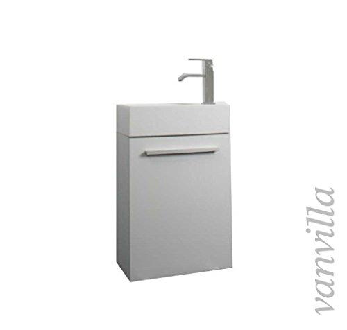 vanvilla Gäste-WC Badmöbel Set Waschplatz Mineralgussbecken Waschbecken mit Unterschrank Weiss hochglanz RAL 9003