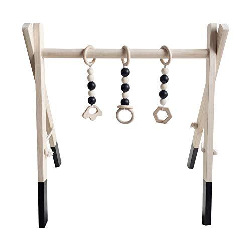 Proglam Baby Aktivitäts-Spielgerät Fitness-Holz-Ring-Zug-Rahmen Multihalterung Kleinkind Lernspielzeug Schwarz