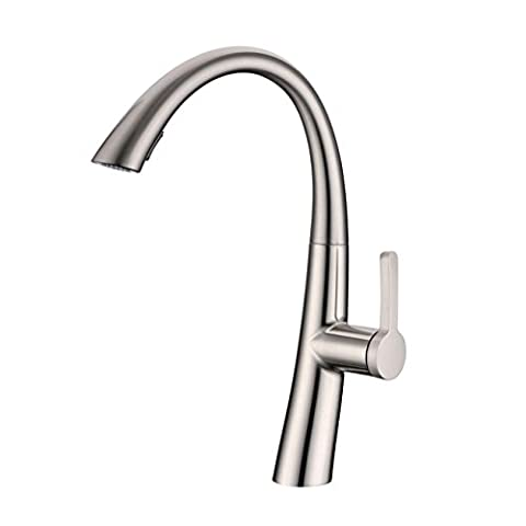 Modern Stainless Steel Swivel Spout Monobloc Pull Out Sprayer Kitchen Mixer Sink Taps , Brushed