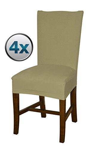 Bellboni Fundas para sillas, fundas elásticas, cubiertas para sillas, pack de 4, beis